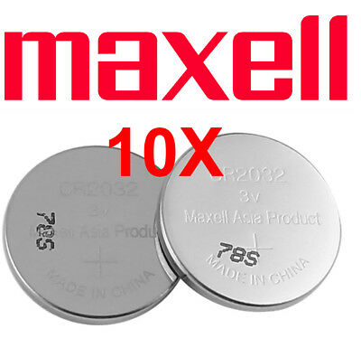 10 X Maxell CR 2032 Lithium Coin Cell Button 3V Battery Batteries Panasonic Sony
