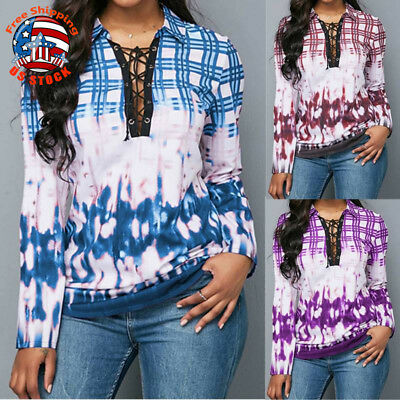 Womens Plaid Long Sleeve Tops Check Lace Up V-Neck Fashion Casual Blouse T-Shirt