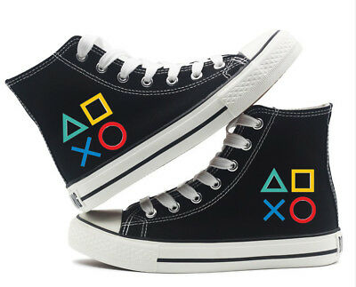 Nintendo PlayStation Button Canvas Shoes High Top Flat Unisex