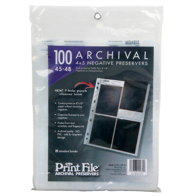 "100x Archival Sleeves Pages Holds Four 4x5"" Negatives Transparencies Print File"