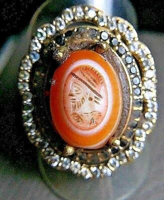 Old  Eye Agate Intaglio Sapphire Emperor King Signet Gold Sterling Silver Ring
