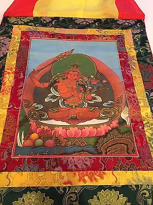 Thangka Tibetan Antiques Large Painting Silk Old And Beautiful Very Well Kept