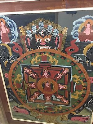 "Tibetan Thangka Antique Buddha Silk-Painting Very Old  New Frame  33"" X 26"""