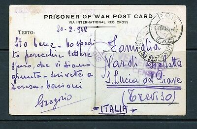 FORCES MAIL KUT 1942 POW card from Italian soldier writing from Camp 352