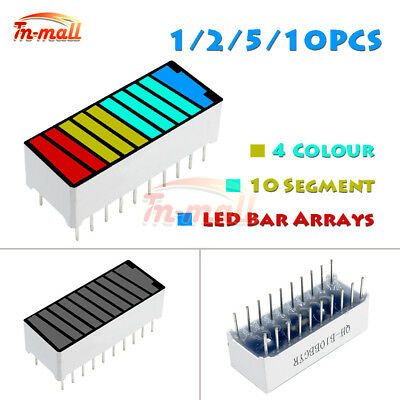 2/5/10PCS 10 Segment 4 Colour LED Battery Bar Graph Light Display Indicator DIP