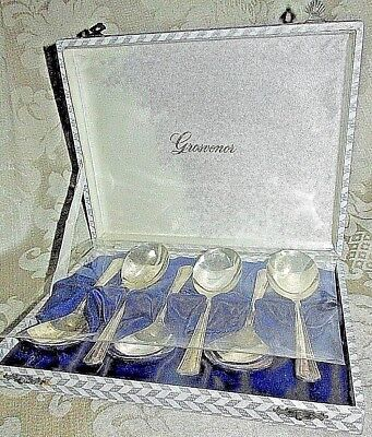 Vintage Grosvenor Delphic Sweet Fruit Spoons 6x. Silver Plate Boxed Ea. 14CmL