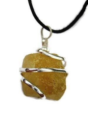 Natural Raw Citrine Wire Wrapped Pendant with Cord Necklace Gemstone Crystal