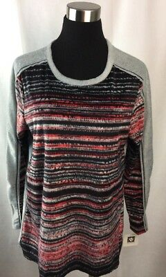 Anne Klein Pajama Top Intimates Size Large Fleece Stripe Shirt A74