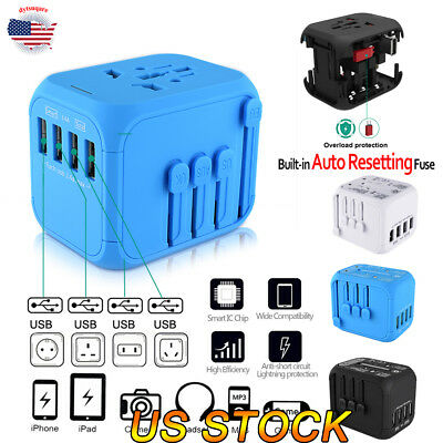 US UK AU EU 4 USB Auto Resetting Universal Travel Adapter Converter Charger Plug