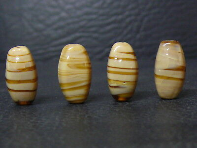 """(eL013)  Tibet:   4  Old  glass Beads.""""agate type, good quality"""""""