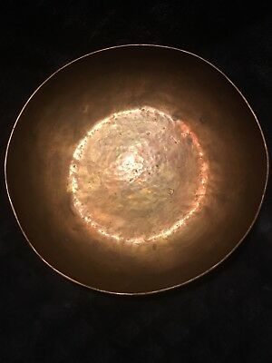 Antique Handmade Hammered Arts And Crafts Era Copper Bowl Signed Makers Mark