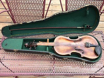 Old violin marked Jacobus Stainer with Josef Richter bow - project to restore !