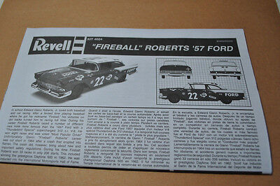 Revell 1/25 Fireball Roberts 1957 Ford Fairlane Instruction Guide - Complete!