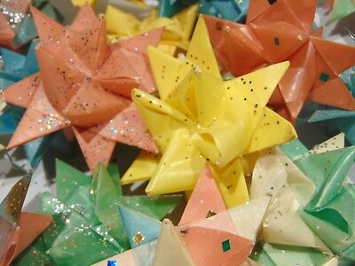 LOT 20 Vintage Origami Paper Moravian Star Tree Ornaments Handcrafted Glitter