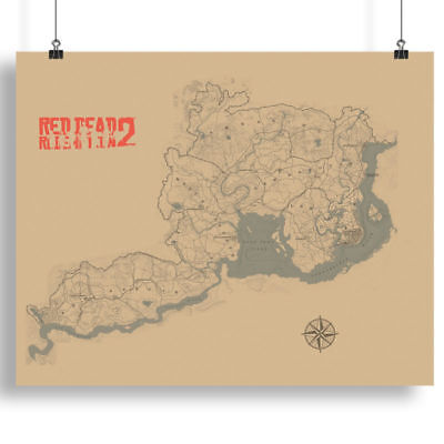 Saint Denis Map Poster Blackwater Map Print 800x1000mm For Red Dead Redemption 2