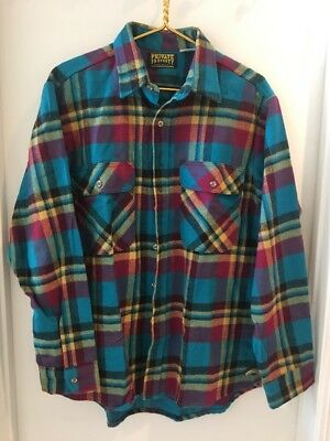 Vintage 90's Private Property Heavy Flannel Shirt Sz L Made in USA Bright Colors