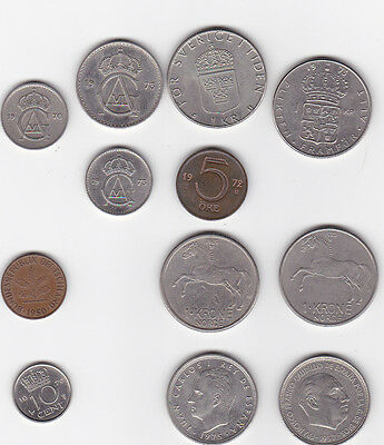 12 World Coin Collection 1950 - 1977 Germany Norway Sweden Spain Netherlands
