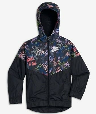 Nike Sportswear Windrunner Big Kids(Girls) Printed Jacket943353-010 Size  Large d560bc096bb