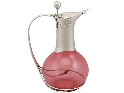 Cranberry Coloured Glass & Sterling Silver Mounted Claret Jug