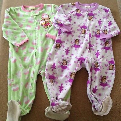 45ad3f64b CARTERS GIRL Footed Fleece Pajamas Size 18 Months Lot Winter Panda ...