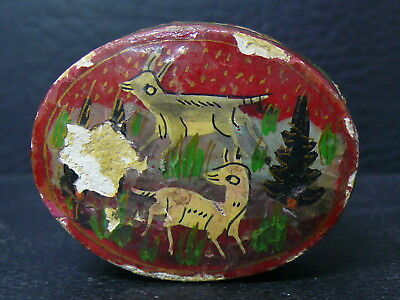 (eN381)  Very  Old Persian hand  painted wooden box