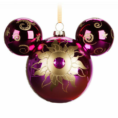 Disney Parks Rapunzel Tangled Mickey Icon Glass Christmas Holiday Ornament NEW