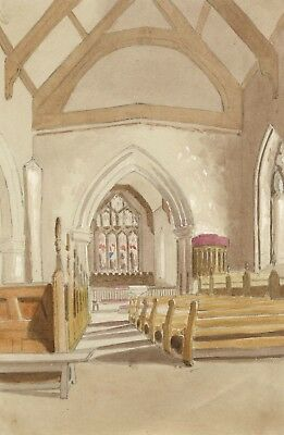 Church Interior Nave with Timber Beams - Mid-19th-century watercolour painting