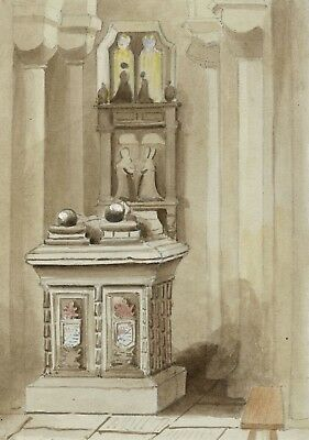 Church Interior Showing Pews - Original mid-19th-century watercolour painting