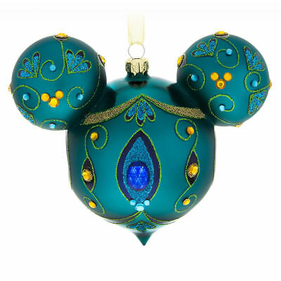 Disney Parks Bejeweled Peacock Mickey Ears Icon Glass Christmas Ornament NEW
