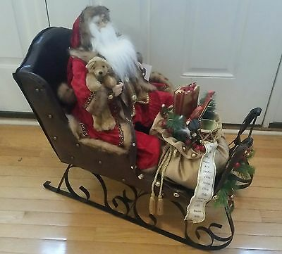"NEW 30"" Santa on Sleigh Plush Christmas Decoration Display Vintage *PICK-UP ONLY"
