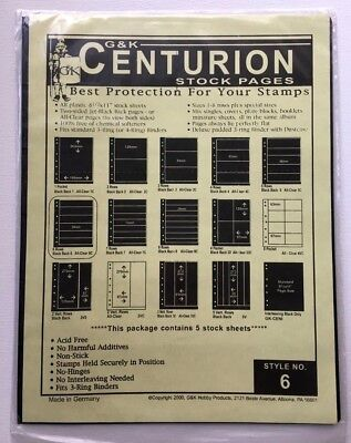 G&K Centurion Stock Sheets Style 6 - 5 Sheet New (Un-Open)- Stamp Supply
