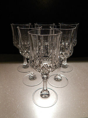 6 Cristal d Arques Longchamps Lead Crystal Port/Sherry Glasses