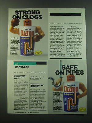 1988 Crystal Drano Drain Opener Ad - Strong on clogs safe on pipes