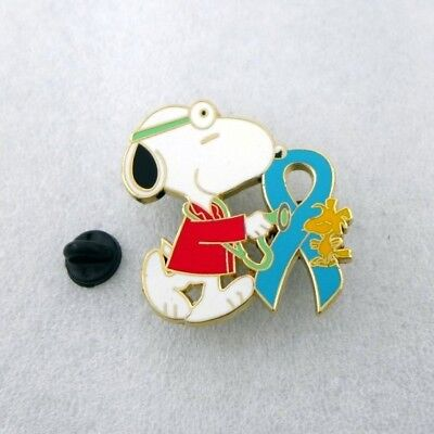 peanuts  snoopy  pin 1.75 inch  metal lapel teal ribbon doctor md red cross