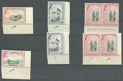 (162) Swaziland  1961 QE var. marginal pieces with Plate-no. mint .n.h.