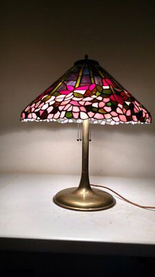 Antique Unique style Brass Trumpet Lamp with Leaded/Slag or Stained Glass shade