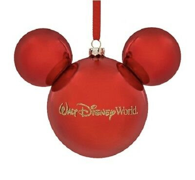 Walt Disney World Park Mickey Icon Ears Red Glass Christmas Holiday Ornament NEW