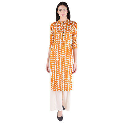 Printed Ethnic Indian Orange Designer Cotton Tunic Women's Kurti (Only Kurti)