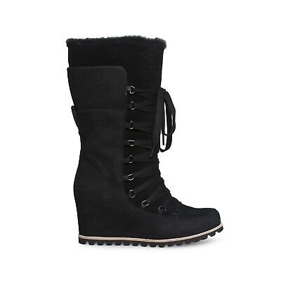 26d791634ccc Ugg Mason Black Suede Waterproof Tall Lace Wedge Women`s Boots Size Us 10  New