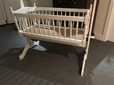 Baby Doll Dolly Dolly's Cot Crib Rocker White Painted Wooden Toy Full Size