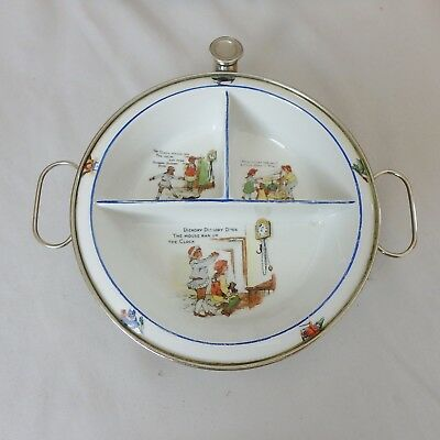 Antique Vtg Germany Baby Warming Dish Bowl w/ Hickory Dickory Dock Nursery Rhyme