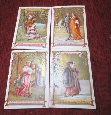 Small Antique Calendar Of The Seasons Cards 1879  Polychrome Marcus Ward & Co