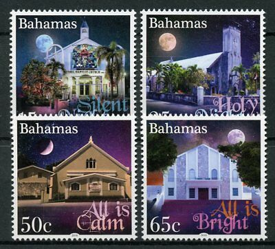 Bahamas 2018 MNH Christmas Holy Night 4v Set Moon Churches Architecture Stamps