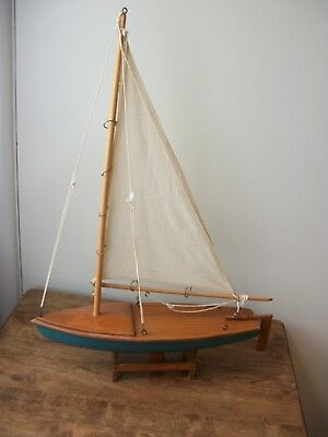 """Wooden Sailboat Nautical Decor 13 1/2""""w with Stand"""