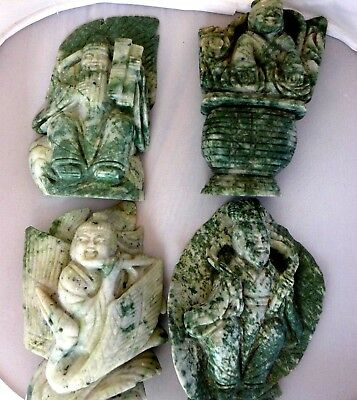 Asian Carved Hard Stone Immortal Figurines Lot 4 Green Speckled