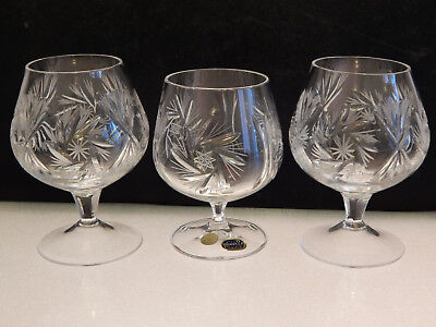 3 Bohemian Pinwheel lead crystal Brandy Glasses