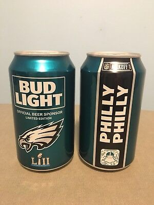 """(2) Philadelphia Eagles 2018 SEALED Bud Light Super Bowl LII """"Philly Philly"""" Can"""