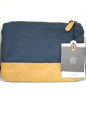 Hearth & Hand With Magnolia Canvas & Leather Cosmetic Clutch Bag.. New