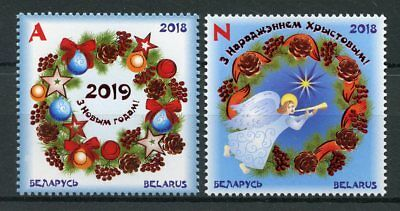 Belarus 2018 MNH Christmas & New Year 2v Set Decorations Angels Stamps