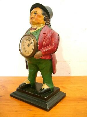 Antique John Bull Blinking Eye Clock Cast Iron Good Older Re-Paint Not Working